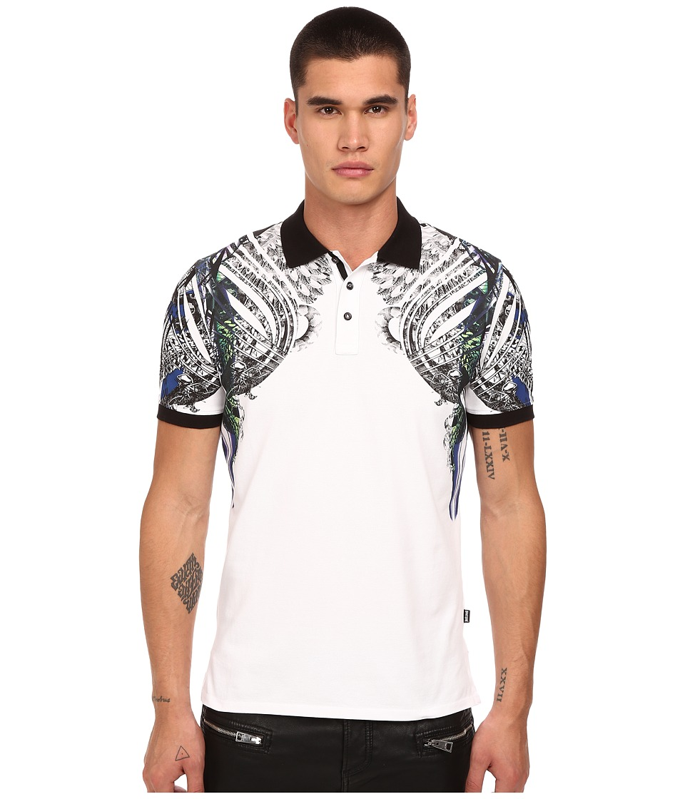 Just Cavalli Modern Deco Print Polo White Mens Clothing