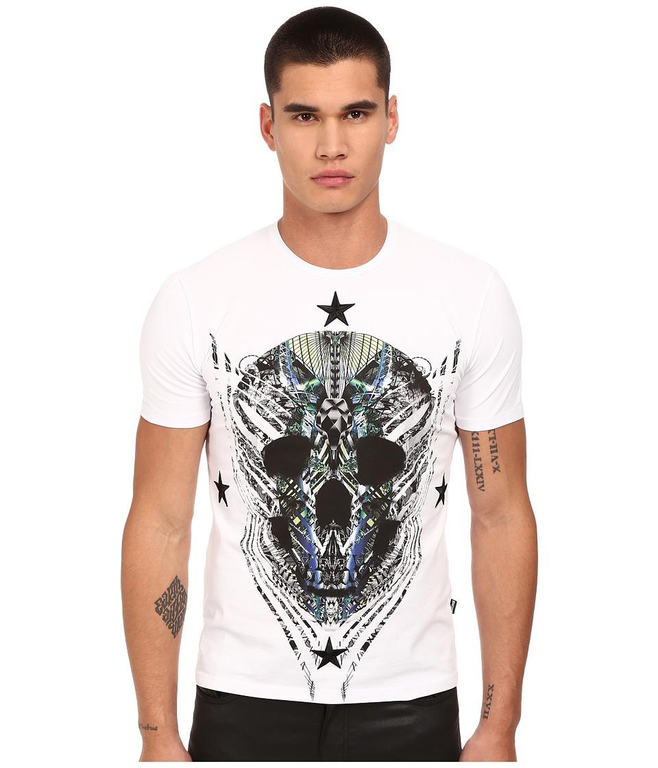 Just Cavalli Modern Deco Skull Print Tee w/ Stars White Mens T Shirt