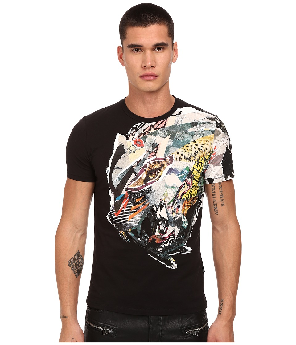 Just Cavalli Collage Dragon Print Tee Black Mens T Shirt