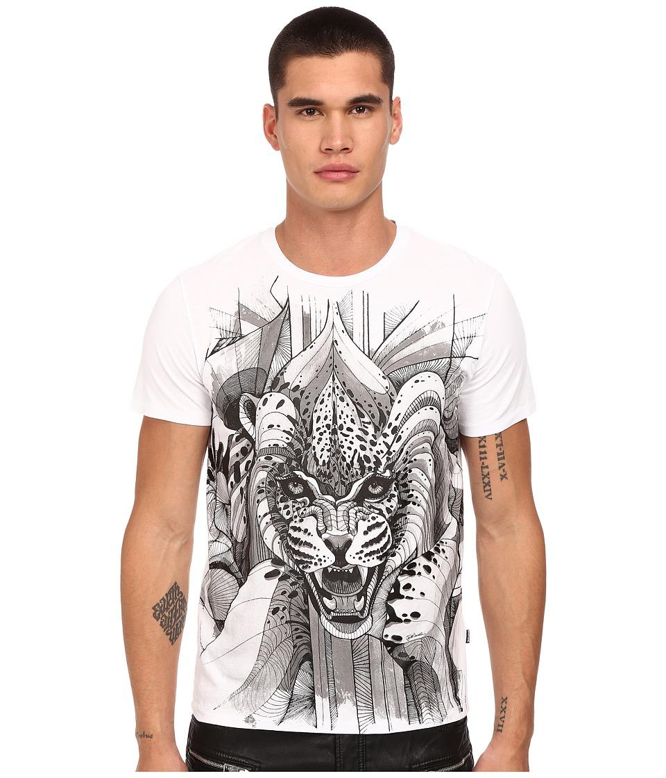 Just Cavalli Leo Screen Print Tee White Mens T Shirt