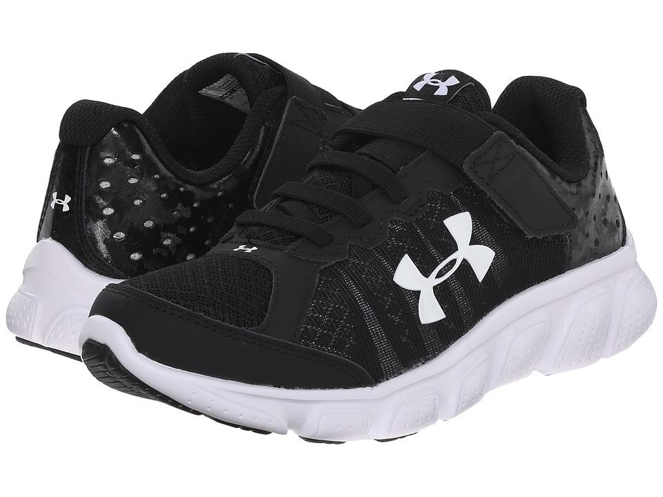 Under Armour Kids UA BPS Assert 6 AC (Little Kid) (Black/White/White) Boys Shoes