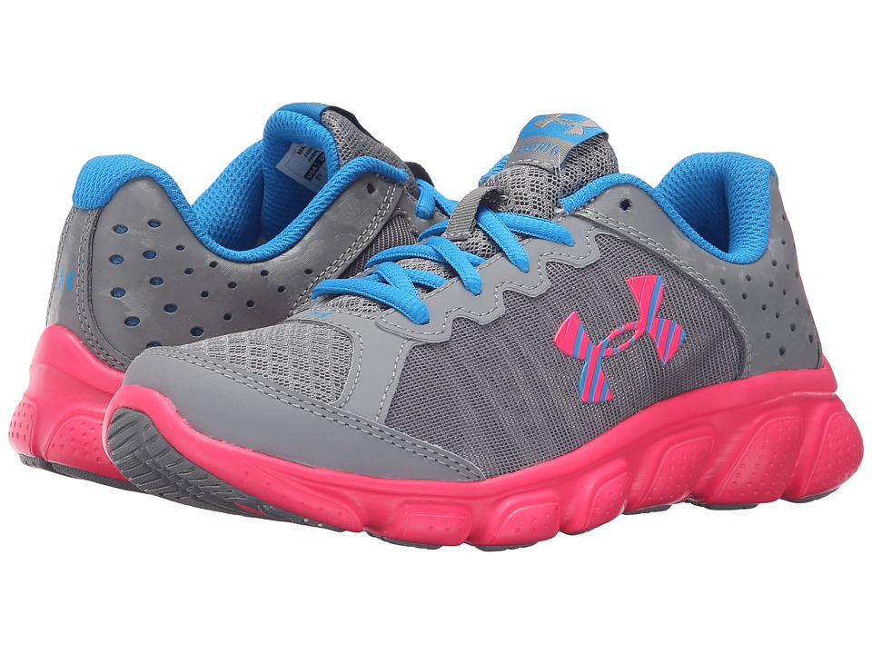 Under Armour Kids UA GPS Assert 6 (Little Kid) (Steel/Harmony Red/Electric Blue) Girls Shoes