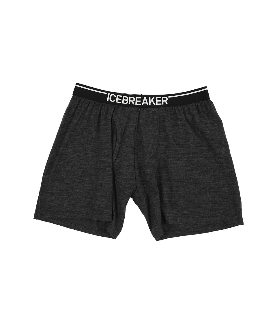 Icebreaker Anatomica Relaxed Boxers w/ Fly Jet Heather/Black Mens Underwear