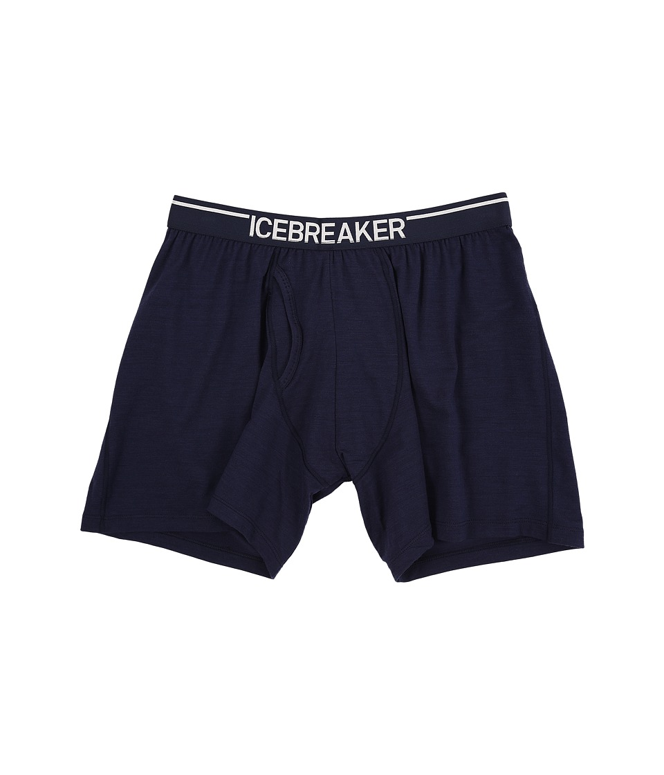 Icebreaker Anatomica Relaxed Boxers w/ Fly Admiral/White Mens Underwear