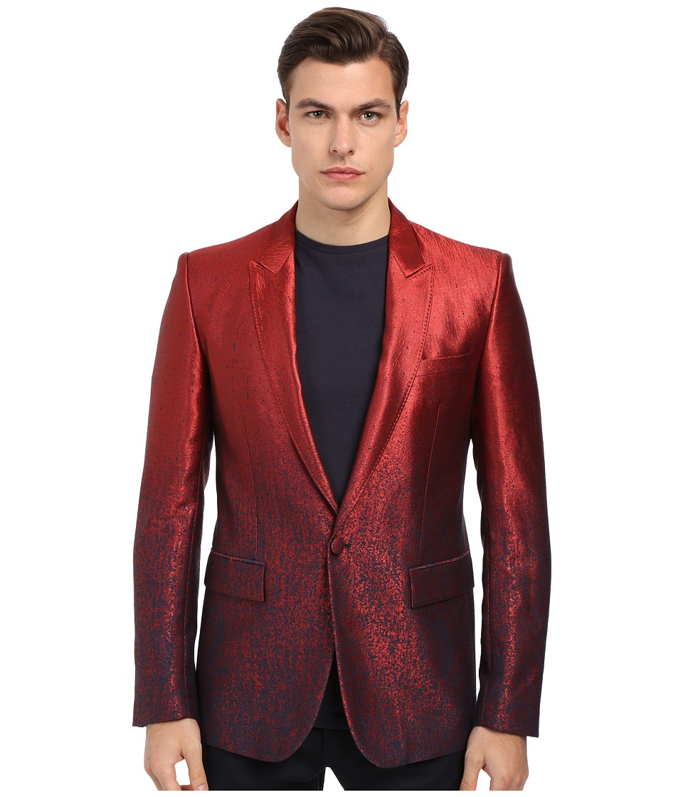 Just Cavalli Ombre Red To Blue 1B Peak Lapel Red Mens Jacket