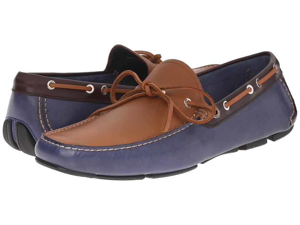 Salvatore Ferragamo Losanna Driver Blue Marine/Radica Mens Shoes