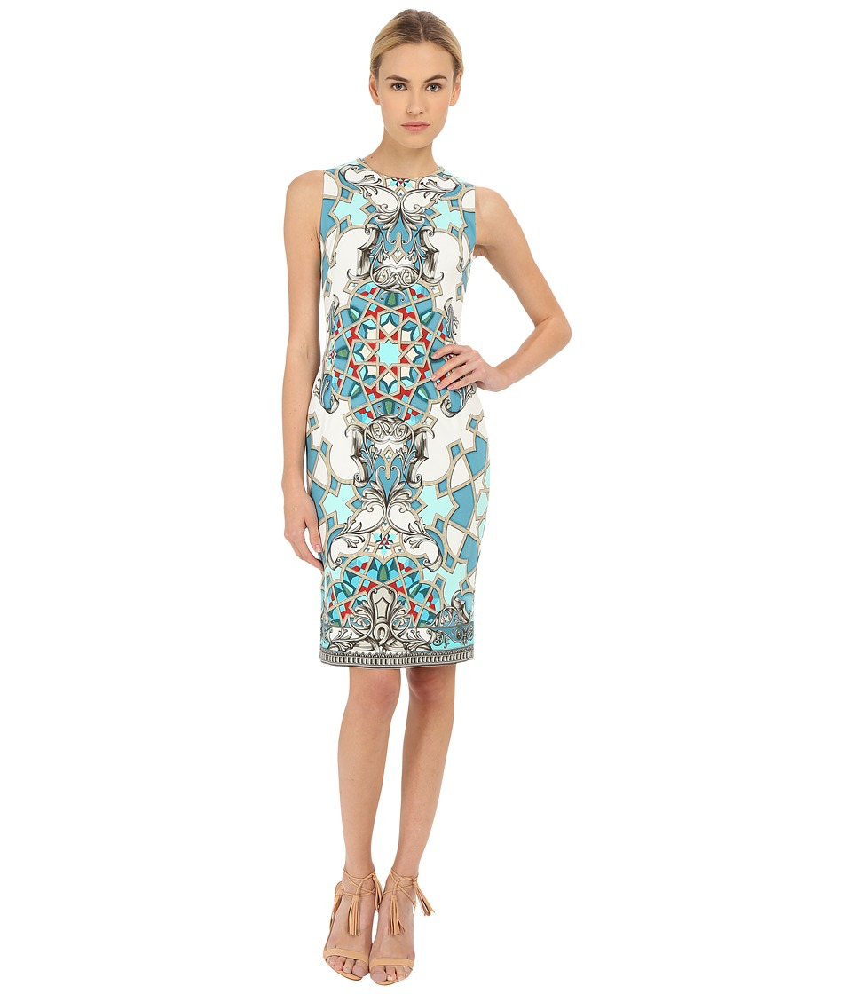 Versace Collection Light Blue All Over Patterened Dress Multi Womens Dress