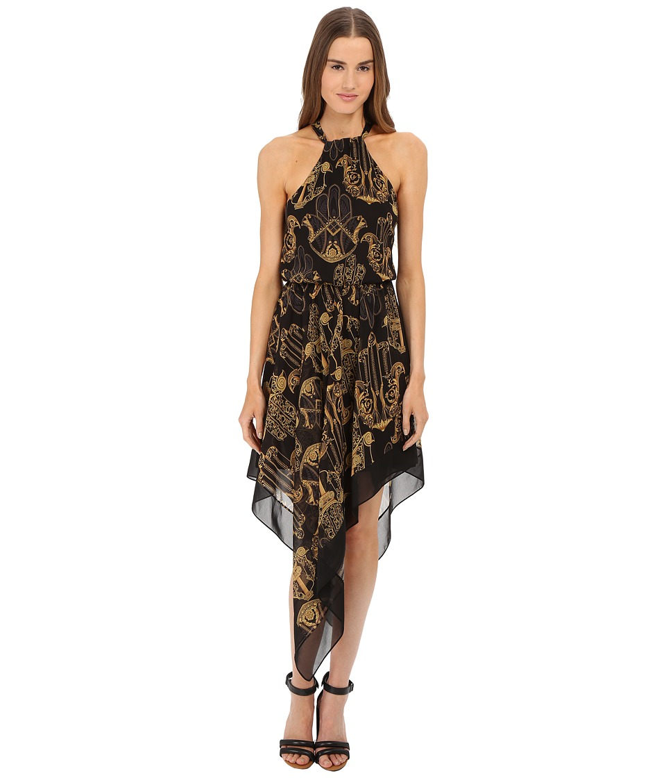 Versace Collection Black and Gold Patterned Dress with Crisscross Back Black Womens Dress