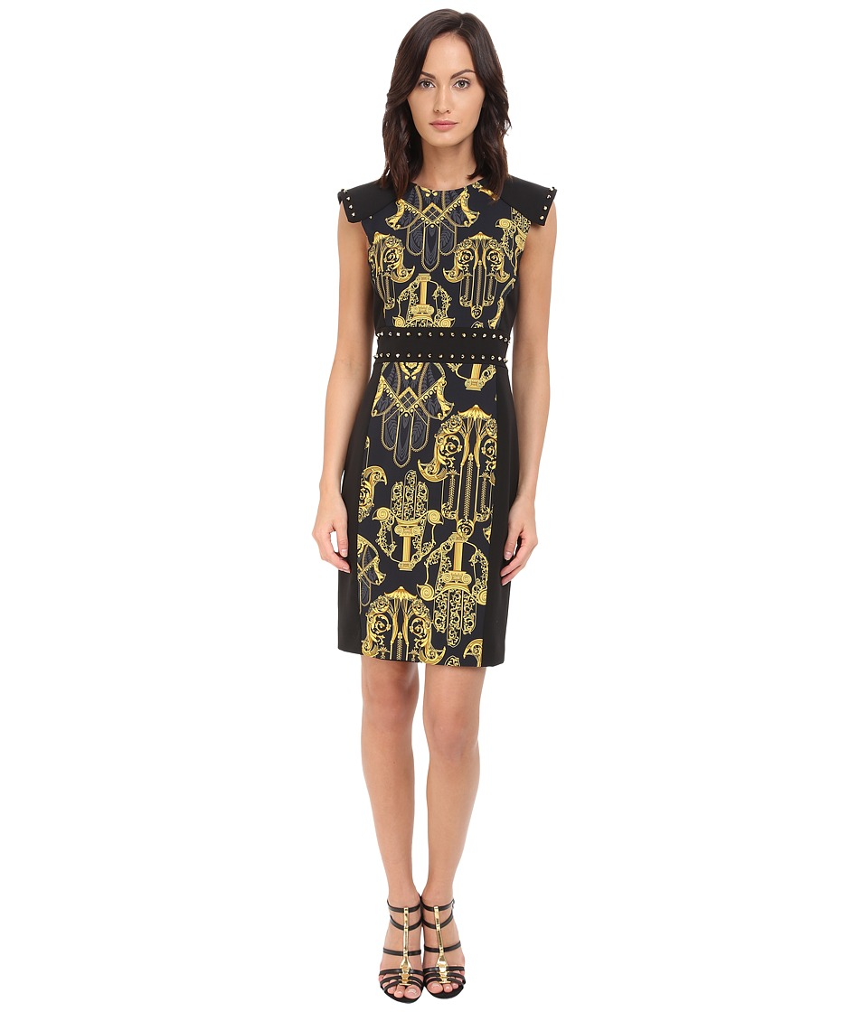 Versace Collection Black and Gold Patterened Dress w/ Studded Sleeve Detail Black Womens Dress