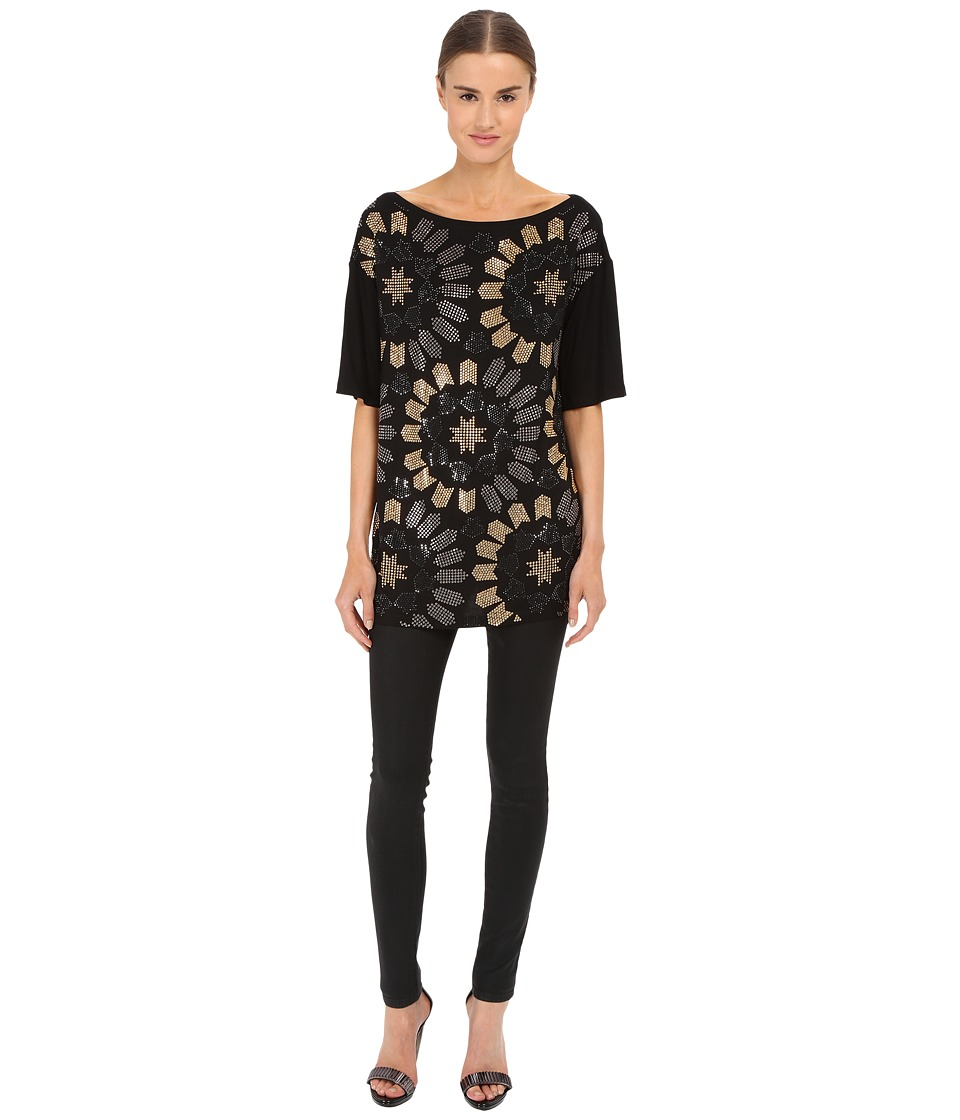 Versace Collection Jersey Dress w/ All Over Gold Embellishment Black Womens Dress