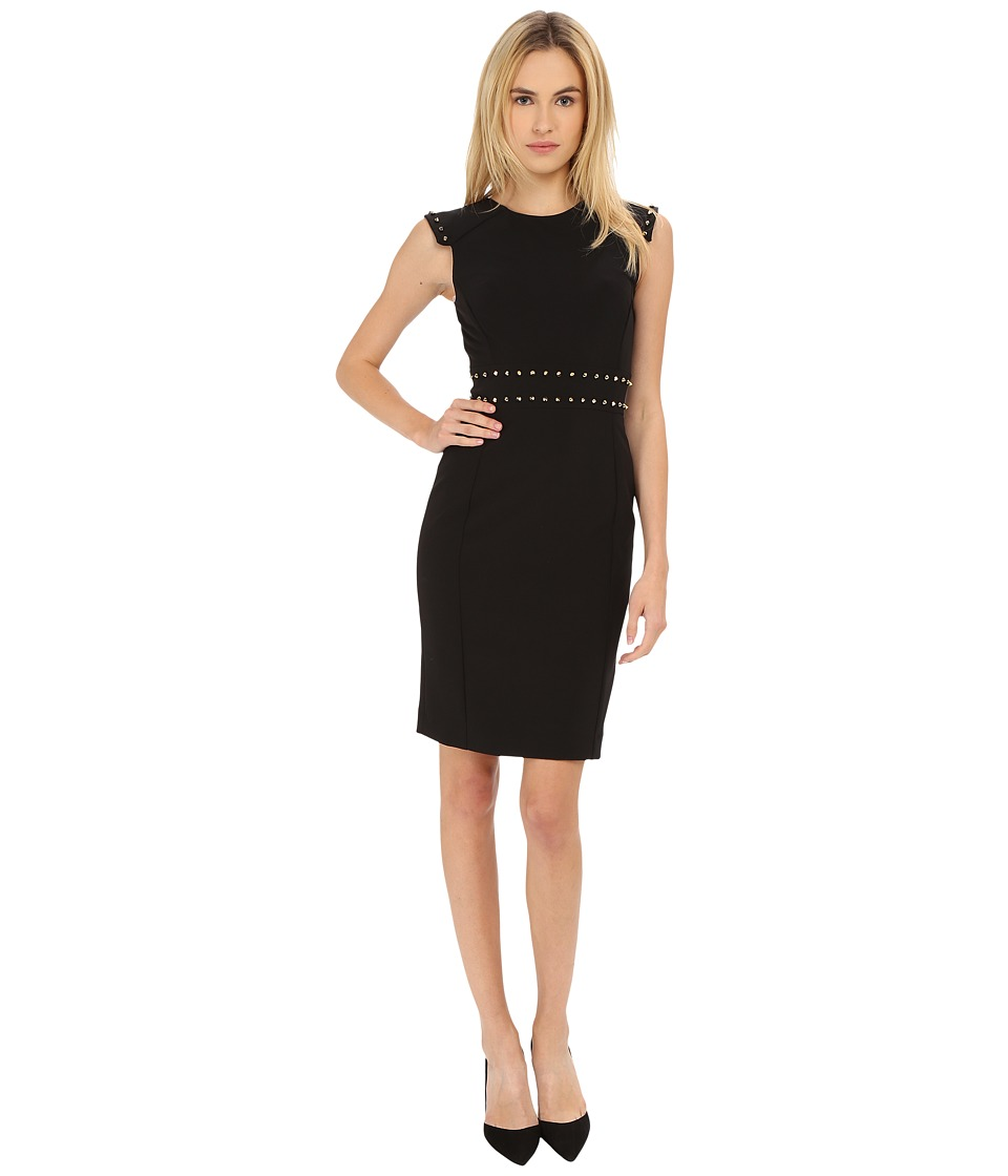 Versace Collection Dress with Stud Waist Detail Black Womens Dress