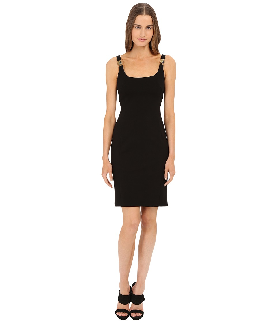 Versace Collection Jersey Dress w/ Gold Hardware Black Womens Dress