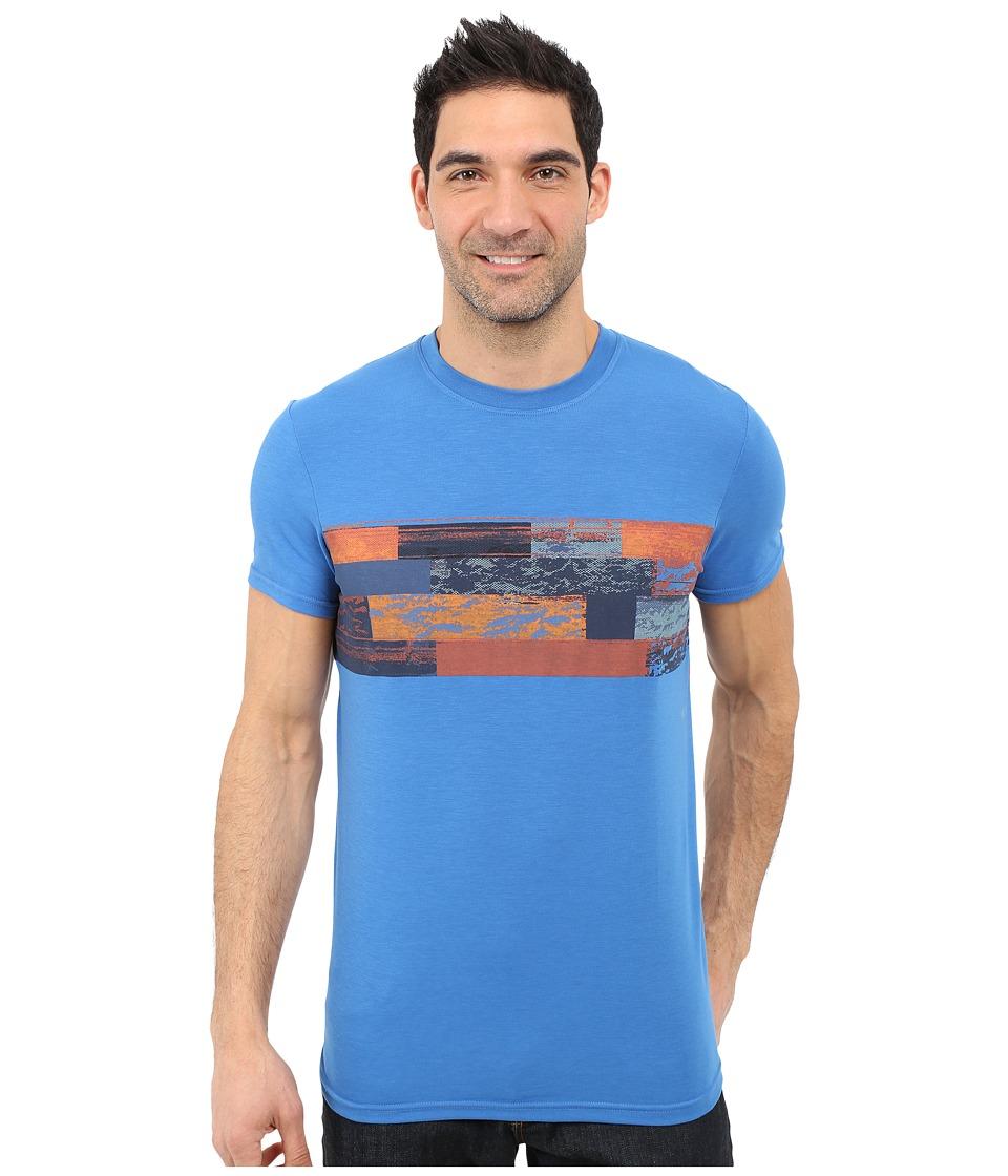 Prana Printed Ridge Tech Tee Classic Blue Mens Short Sleeve Pullover