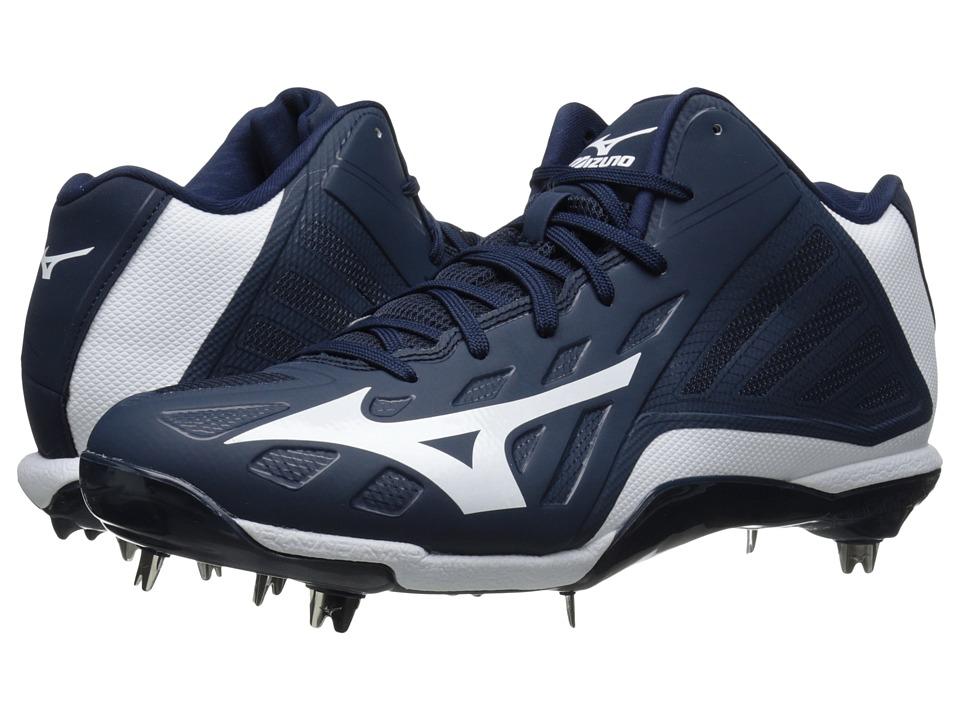 Mizuno Heist IQ Mid Navy/White Mens Cleated Shoes