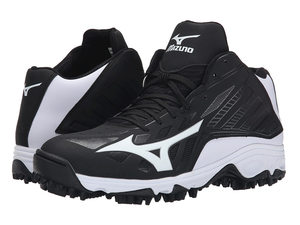 Mizuno - 9-Spike(r) Advanced Erupt 3 Mid (Black/White) Mens Cleated Shoes
