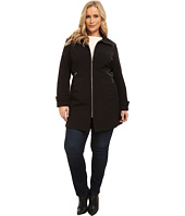 Via Spiga - Plus Size Wing Collar Soft Shell Coat w/ Novelty PU Sided Detail