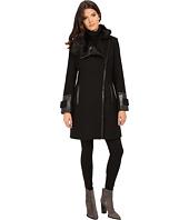 Via Spiga - Asymmetrical Coat w/ PU Detail and Faux Fur Collar