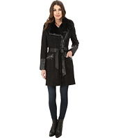 Via Spiga - Herringbone Asymmetrical Tweed Coat w/ Faux Fur Collar