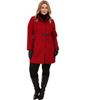 Via Spiga - Plus Size Stand Collar Wool Coat w/ PU Detail and Center Tab Closure
