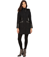Via Spiga - Basket Tweed Tassel Body Coat w/w Faux Fur Trimmed Detachable Hood