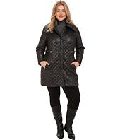 Via Spiga - Plus Size Top Wing Collar Quilt Coat