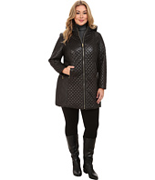 Via Spiga - Plus Size Hooded Diamond Quilt Coat w/ Sided Detail