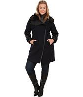 Via Spiga - Plus Size Asymmetrical Coat w/ Faux Fur Collar and PU Detail