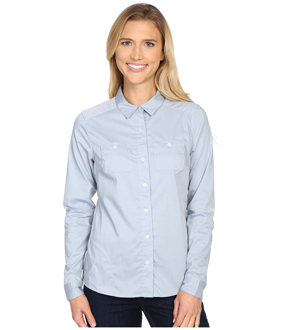ToadampCo Panoramic Long Sleeve Shirt Weathered Blue Stripe Womens Long Sleeve Button Up