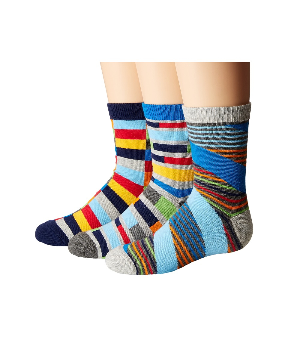 Jefferies Socks Funky Stripe Crew 3 Pack Toddler/Little Kid/Big Kid Multi Boys Shoes