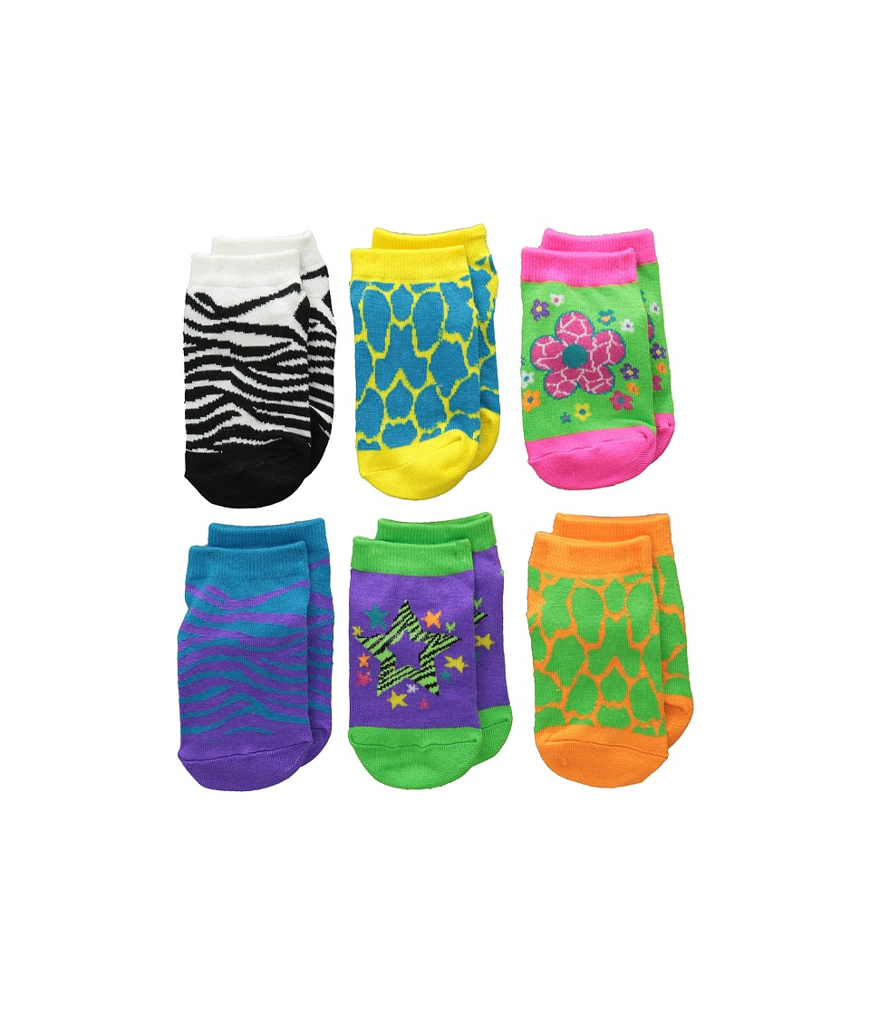 Jefferies Socks Zebra Giraffe Low Cut 6 Pack Toddler/Little Kid/Big Kid Neon Girls Shoes