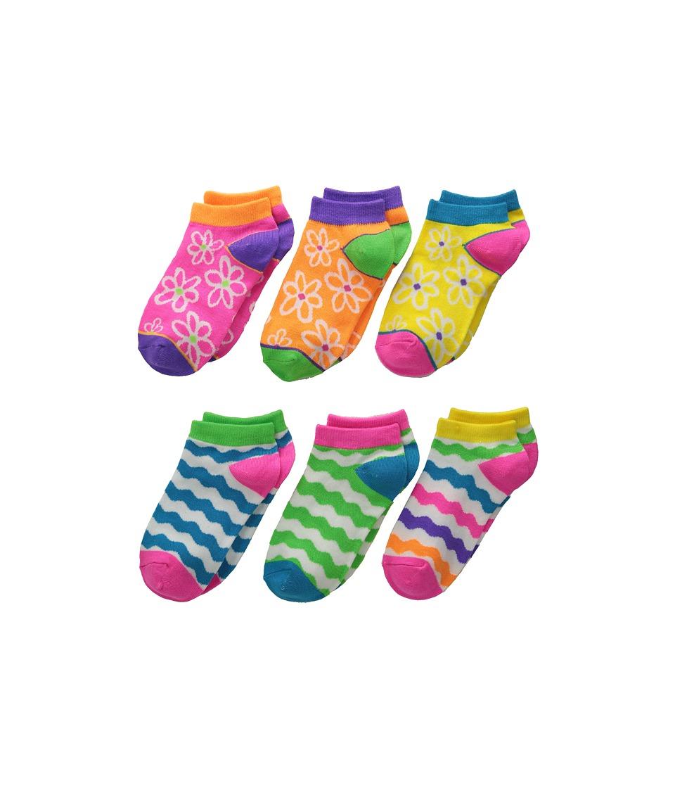 Jefferies Socks Daisy Wavy Low Cut 6 Pack Toddler/Little Kid/Big Kid Neon Girls Shoes