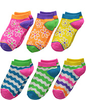 Jefferies Socks - Daisy & Wavy Low Cut 6-Pack (Toddler/Little Kid/Big Kid)