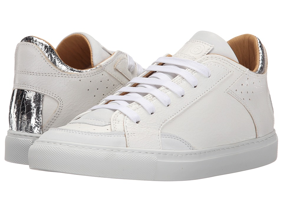MM6 Maison Margiela Metallic Crackle Low Top Sneaker White/Silver Womens Lace up casual Shoes
