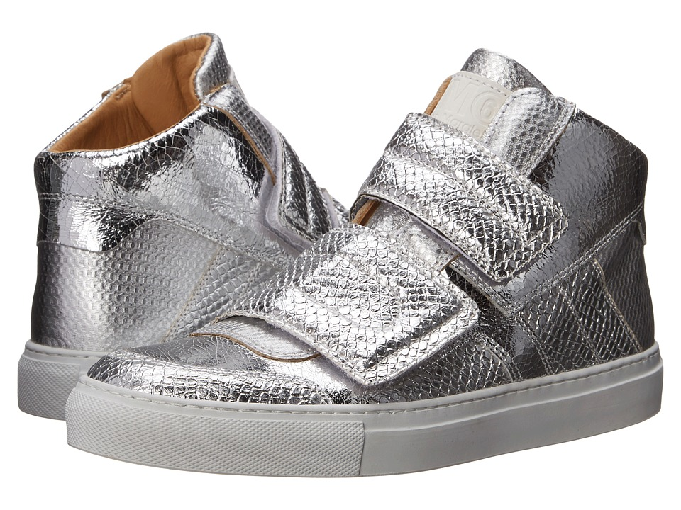 MM6 Maison Margiela Metallic Crackle High Top Silver Womens Lace up casual Shoes