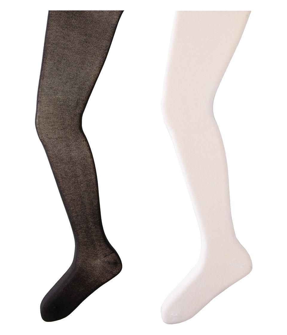 Jefferies Socks Seamless Organic Cotton Tights 2 Pack Infant/Toddler/Little Kid/Big Kid White/Black Hose