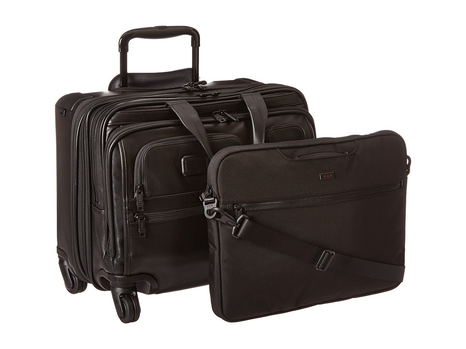 Tumi Alpha 2 4 Wheeled Deluxe Leather Brief with Laptop Case Black Luggage