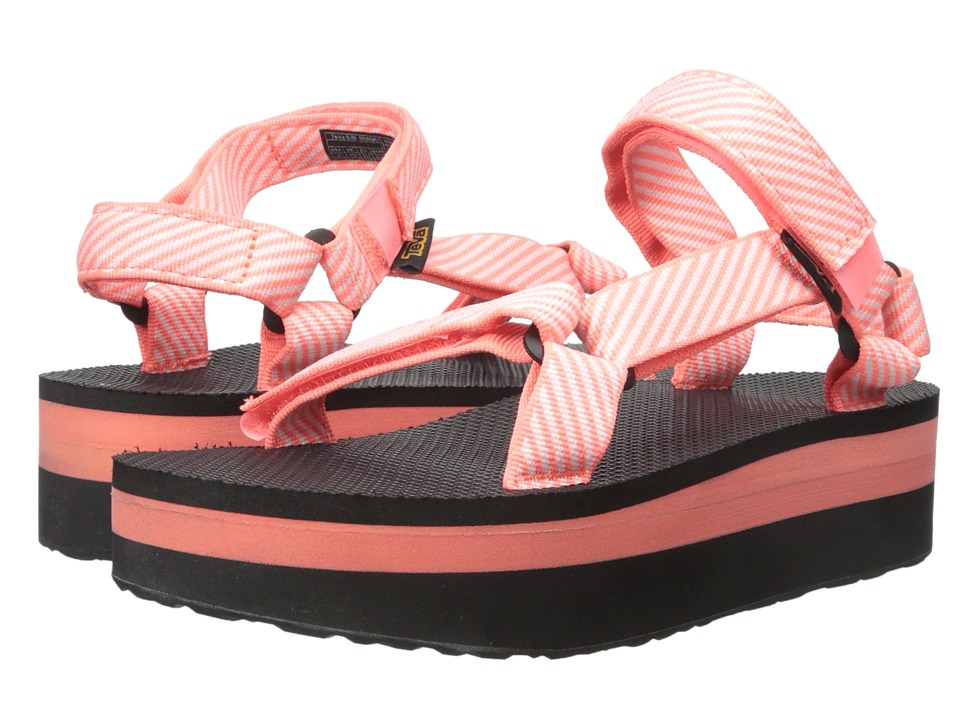 Teva Flatform Universal Candy Stripe Coral Womens Sandals