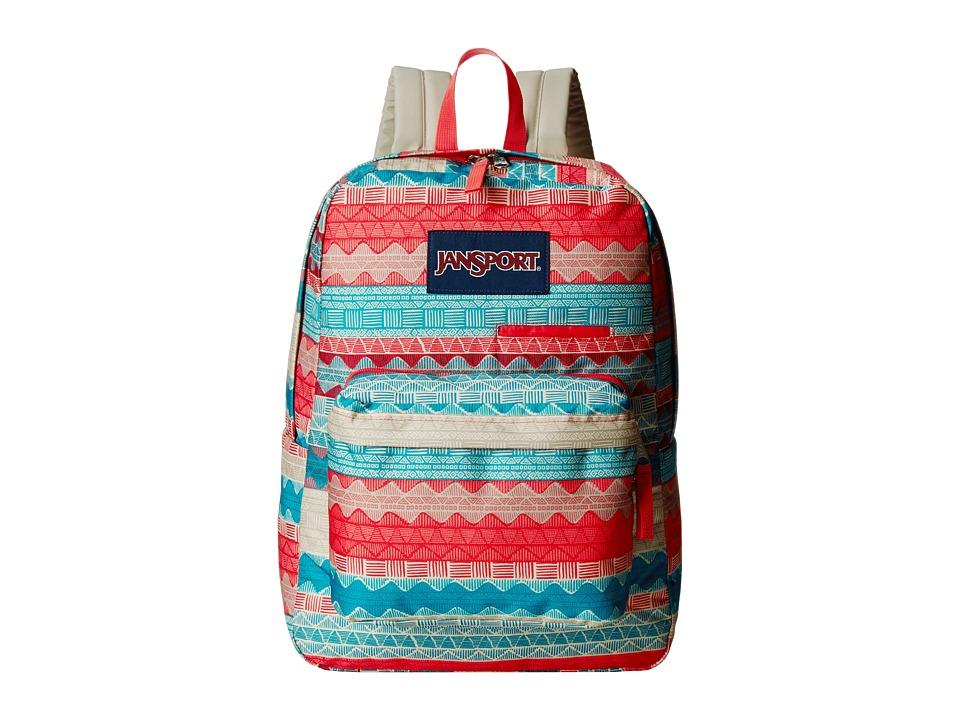 JanSport Digibreak Malt Tan Boho Stripe Backpack Bags