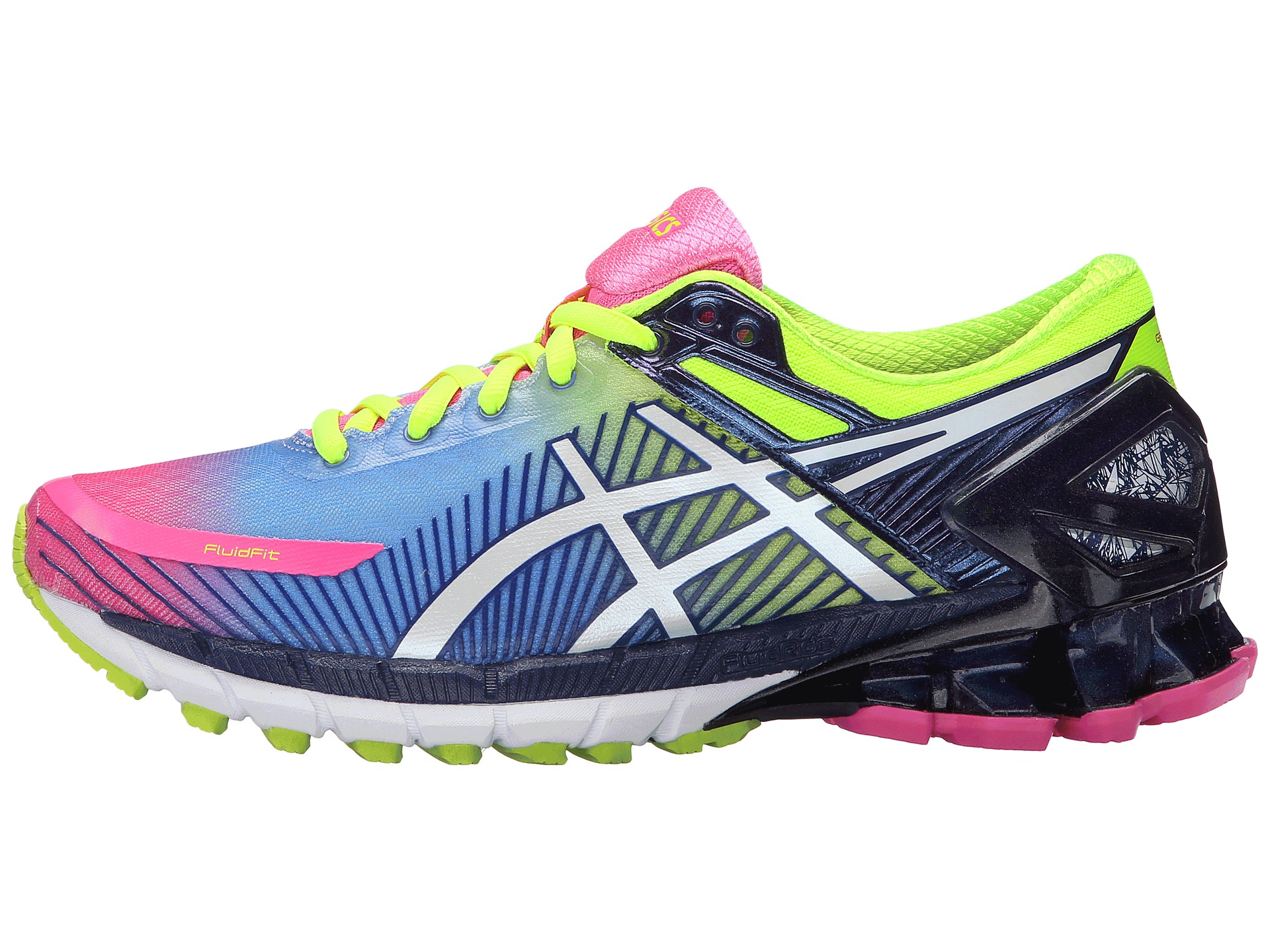 asics gel kinsei 6 hot pink white flash yellow 1 zappos. Black Bedroom Furniture Sets. Home Design Ideas