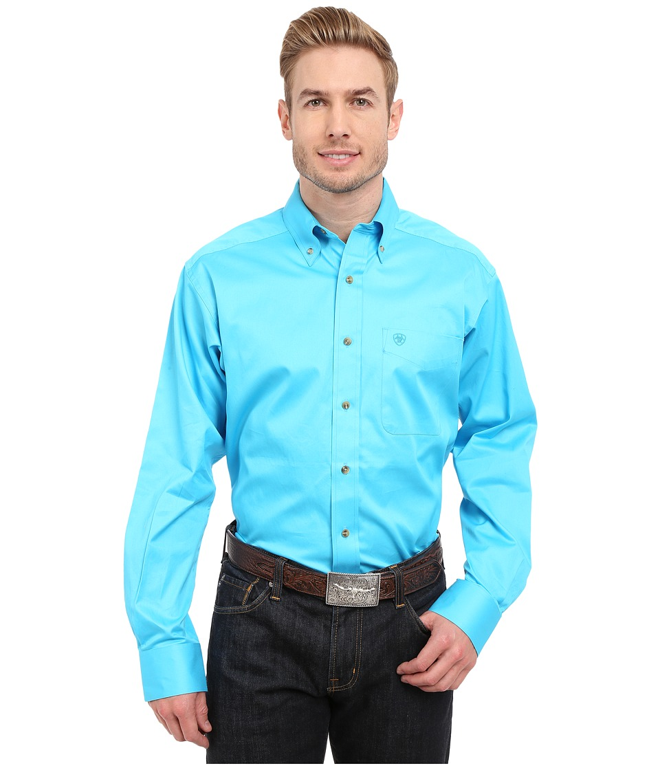 Ariat Solid Twill Shirt Blue Atoll Mens Long Sleeve Button Up