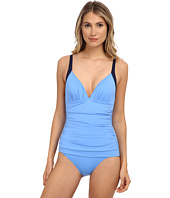 Tommy Bahama - Deck Piping Over the Shoulder V-Neck Cup One-Piece