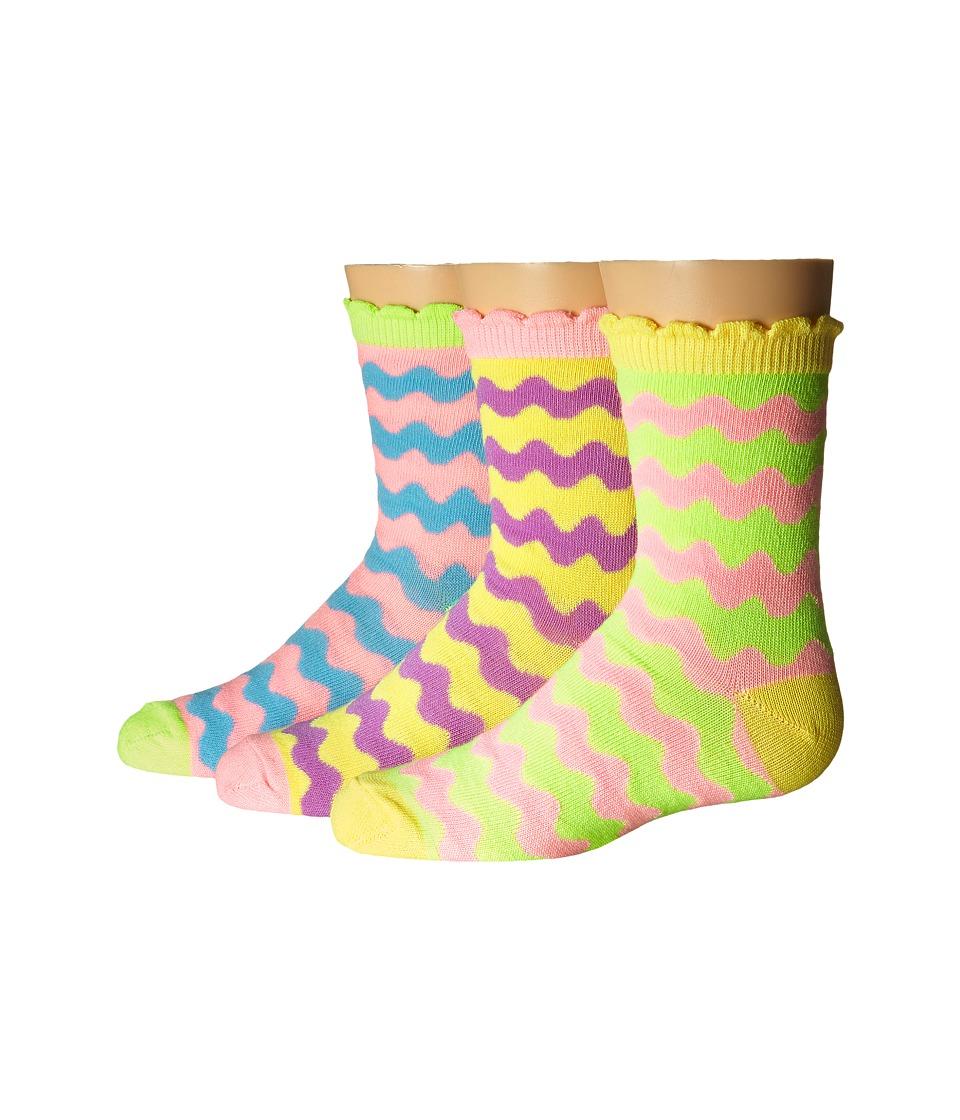 Jefferies Socks Pastel Neon Wavy Crew 3 Pack Infant/Toddler/Little Kid/Big Kid Pastel Neon Girls Shoes
