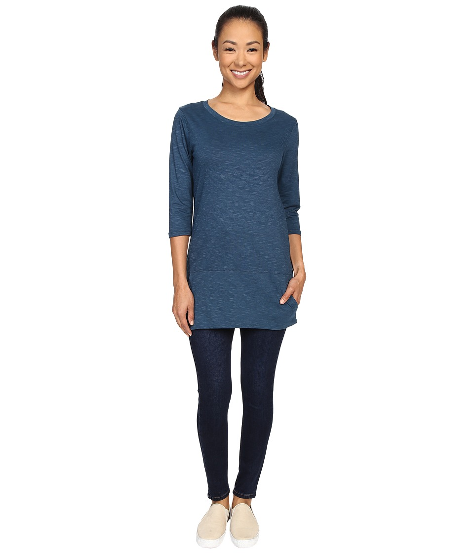 ToadampCo Ursa Three Quarter Sleeve Tunic Inky Teal Womens Short Sleeve Pullover