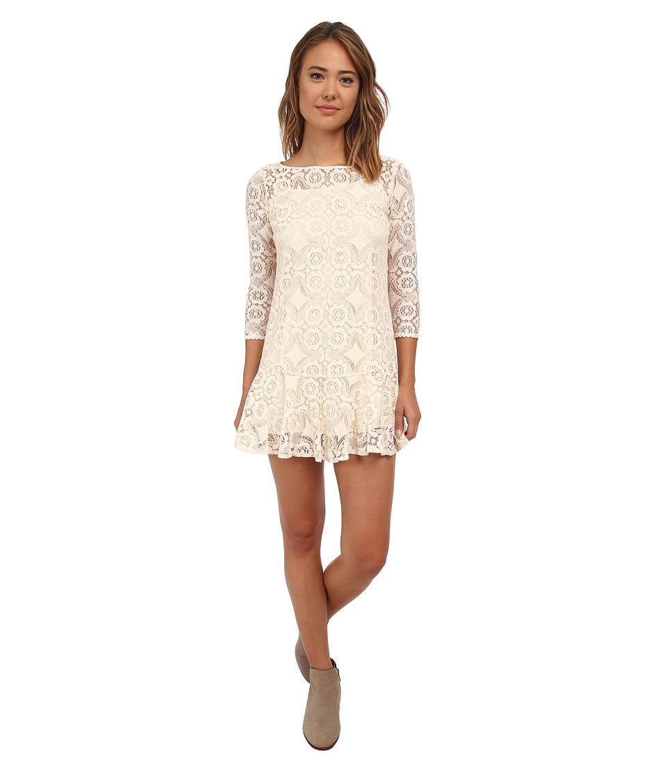 Free People Cross Dye Lace Walking To The Sun Cream Womens Dress