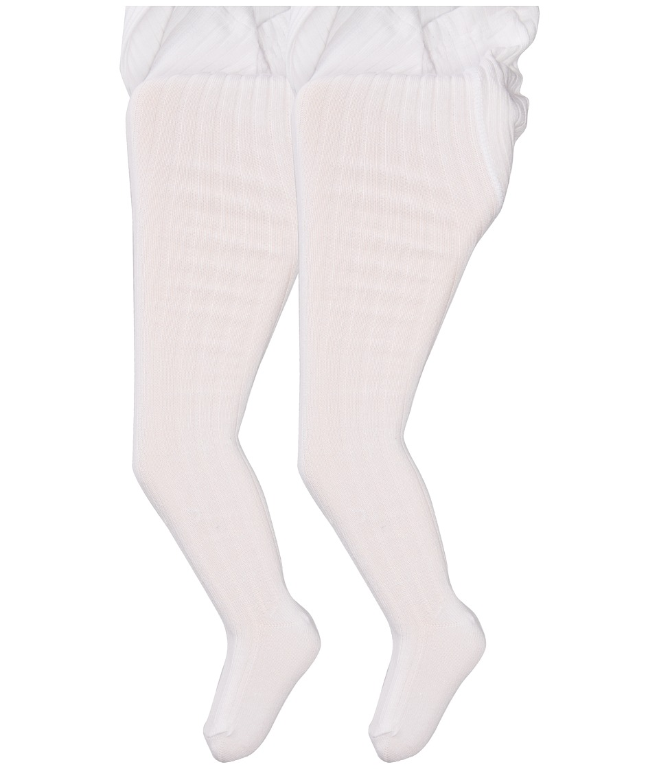 Jefferies Socks Cotton Rib Tights 2 Pack Infant/Toddler/Little Kid/Big Kid White/White Hose