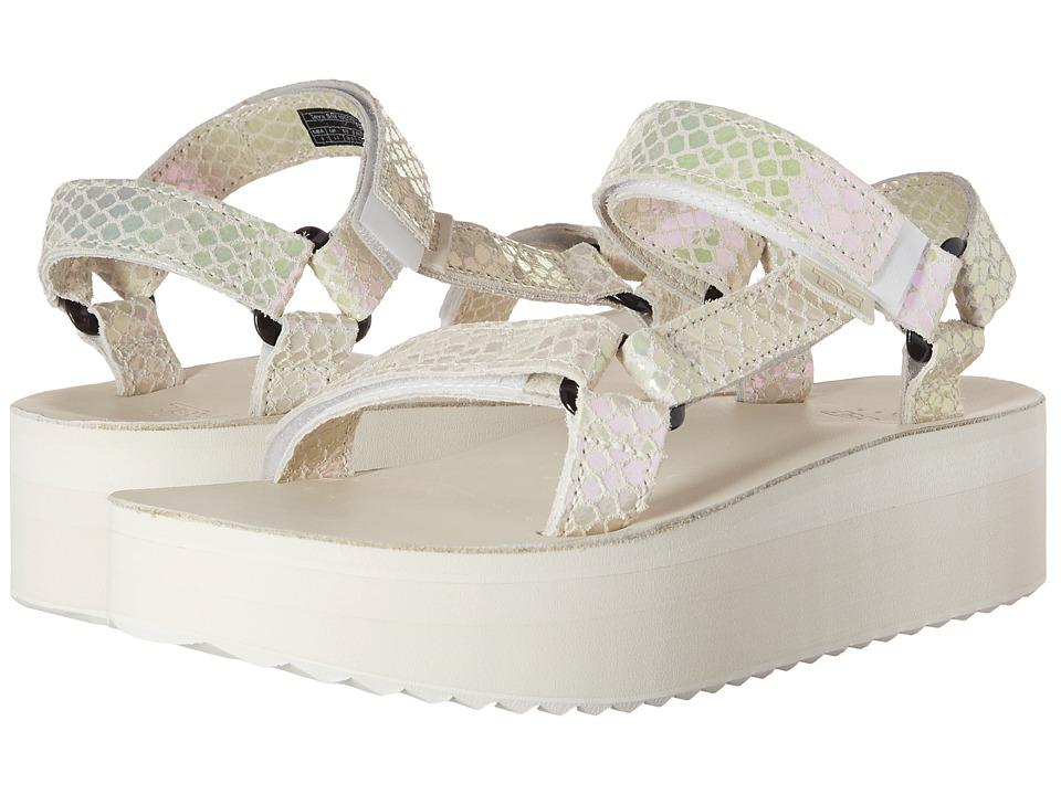 Teva Flatform Universal Iridescent White Womens Shoes