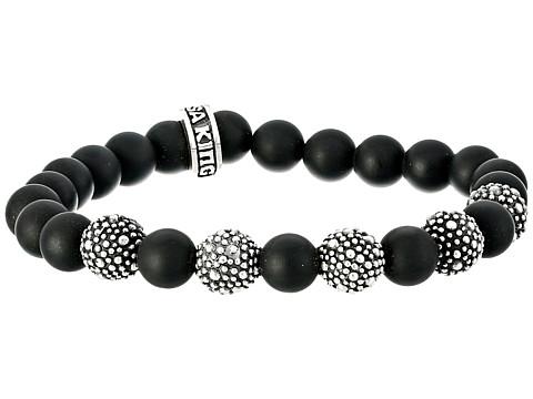 King Baby Studio 8mm Onyx Bead Bracelet with 5 Stingray Beads - Onyx