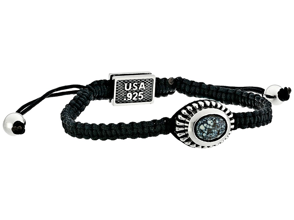 King Baby Studio - Macrame Black Bracelet with Top Hat Spotted Turquoise Concho