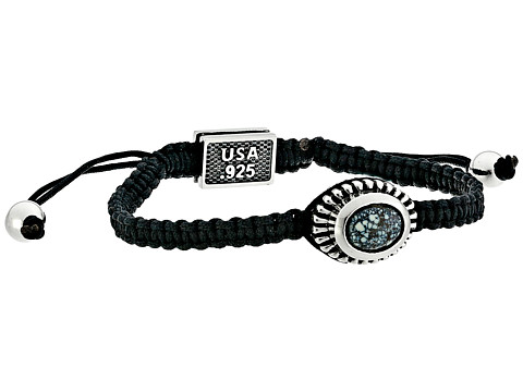 King Baby Studio Macrame Black Bracelet with Top Hat Spotted Turquoise Concho - Black