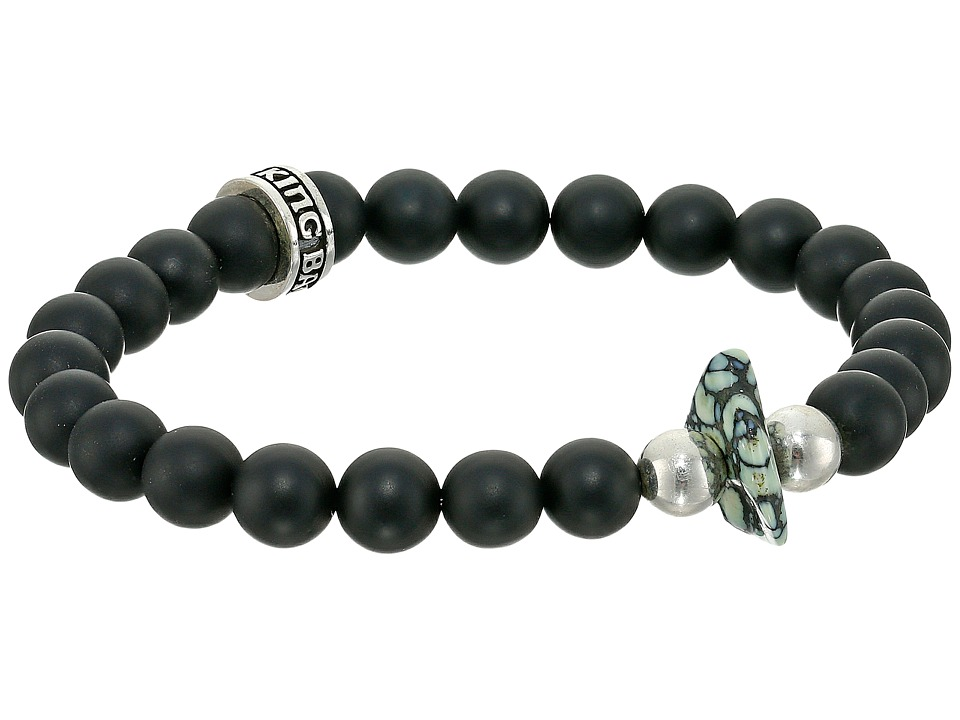 King Baby Studio 8mm Onyx Bead Bracelet with Natural Top Hat Spotted Turquoise Onyx Bracelet